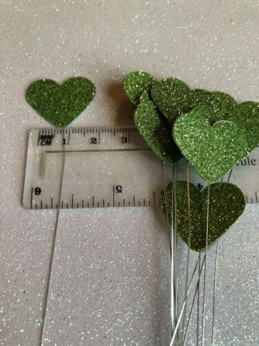 """Florist craft Green Glitter Hearts on 7/"""" florist wire pack of 12"""