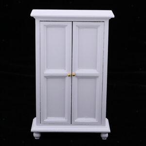1-12-Puppenhaus-Miniaturmoebel-Holzschrank-Kleiderschrank-Raumdekoration