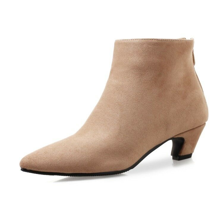 Women Elegant Pointy Toe Ankle Boots Suede Block Heels Solid Plus Size New shoes
