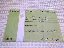 Ticket PASSIERSCHEIN   OTL AICHER HFG ULM OLYMPISCHE SPIELE 1972 MÜNCHEN MUNICH
