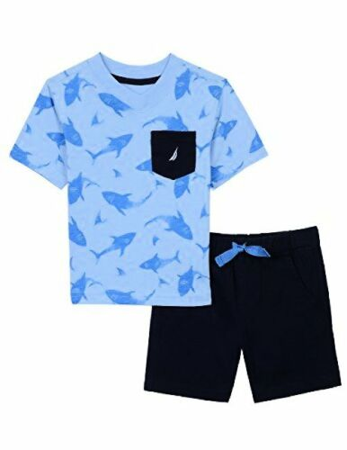 Nautica Childrens Apparel Baby Boys Two Piece Set W// V-Neck Pocket Tee