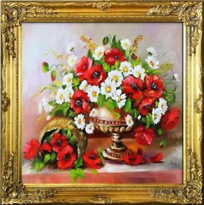 Olgemaelde-Blumen-Bild-Bilder-Gemaelde-Olbilder-Olbild-Bilderrahmen-Rahmen-G16739