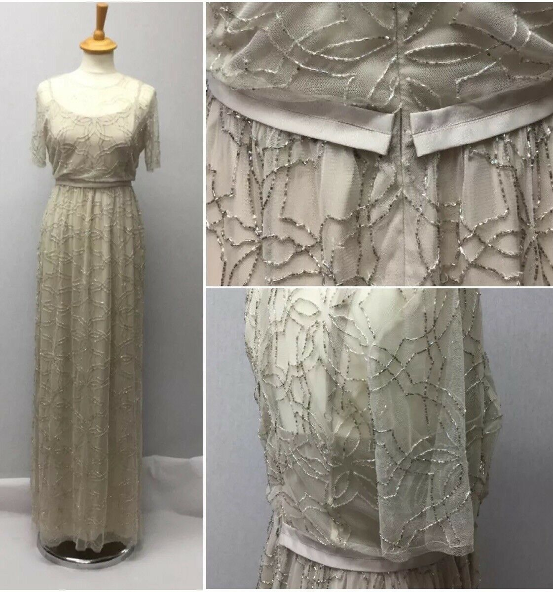 Needle And Thread Ladies Nude Cream Tulle Tulle Tulle Sequin 20s Vintage Maxi Dress Uk 14 6dbdab