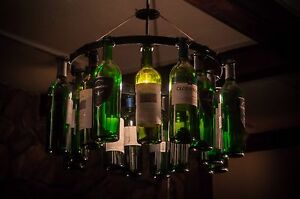 Wine bottle chandelier wine rack light lighting wine decor pendant image is loading wine bottle chandelier wine rack light lighting wine aloadofball Images