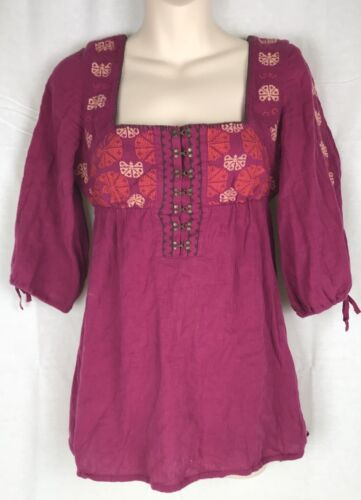 Free People Boho Hippie Embroidered Long Sleeve Gy