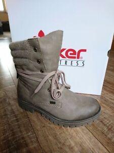 Details zu Rieker 78531 64 Damen Stiefel Boots Beige mit Lammwolle TEX NEU