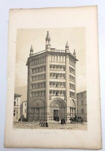 1843-G-Moore-Lithograph-Architecture-of-Italy-The-Baptistery-Of-Parma-Church