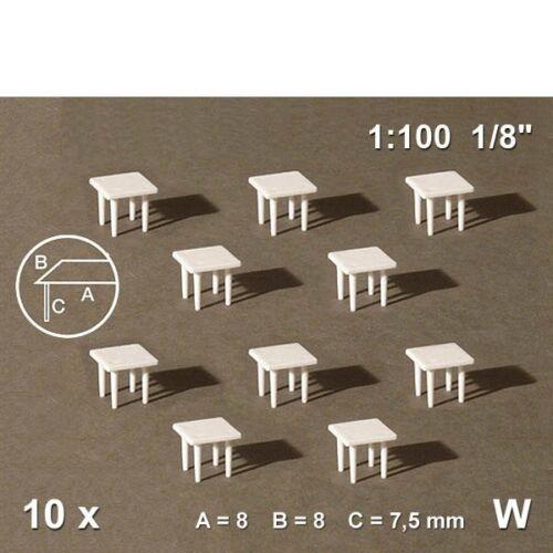 10 Stück Schulcz 380-54-60704 Tische 1:100 quadratisch 0,75€//Stück