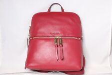 a918d3a35374 Michael Kors Rhea Slim Medium Maroon Red Leather Backpack Handbag ...