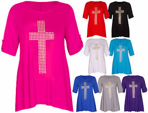 Womens-New-Cross-Studded-Ladies-3-4-Turn-Up-Sleeve-Stretch-T-Shirt-Top-Plus-Size