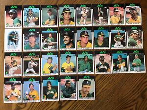 1986-OAKLAND-ATHLETICS-Topps-COMPLETE-Baseball-Team-Set-29-Cards-BAKER-KINGMAN