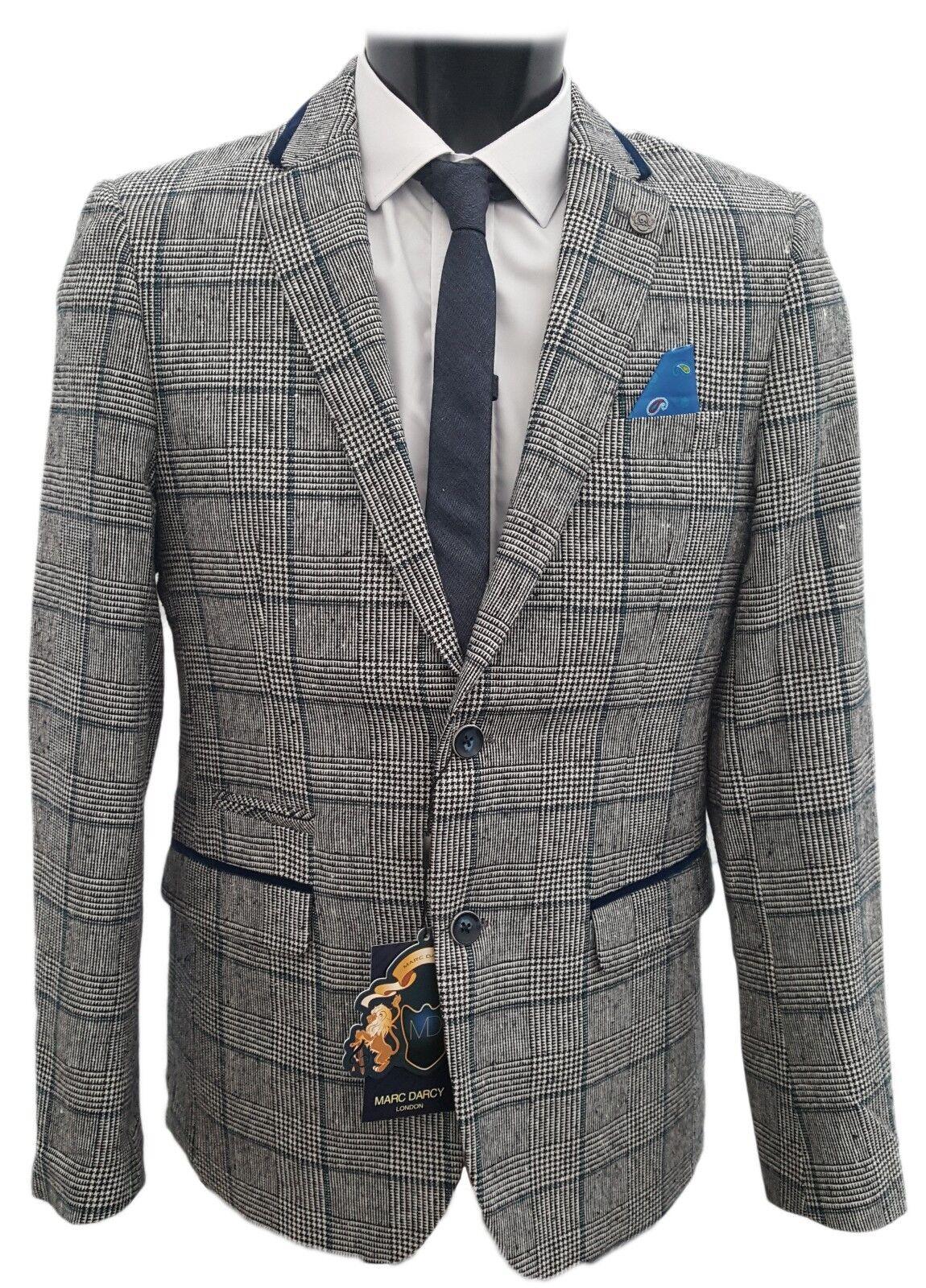 Herren Marc Darcy Designer Kariert Tweed-Blazer Kirk - Grau/Marineblau