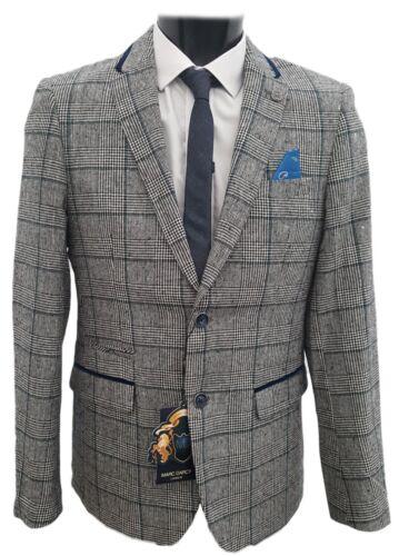 Hommes marc darcy designer carreaux tweed blazer kirk-gris//bleu marine