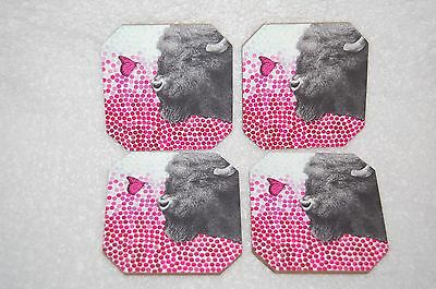 New Pink Deny Designs Set of 4 Buffalo /& Butterfly Drink Coasters