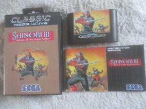 Shinobi-III-3-Classic-Version-Selten-Braun-VGC-CIB-Sega-Mega-Drive