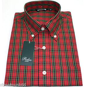 Relco-Mens-Red-Tartan-Check-Short-Sleeved-Shirt-Mod-Skin-Retro-Indie-60s