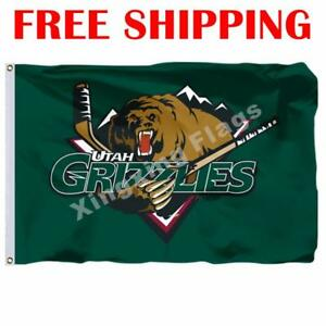 Utah-Grizzlies-Logo-Flag-ECHL-Hockey-League-2018-Banner-3X5-ft