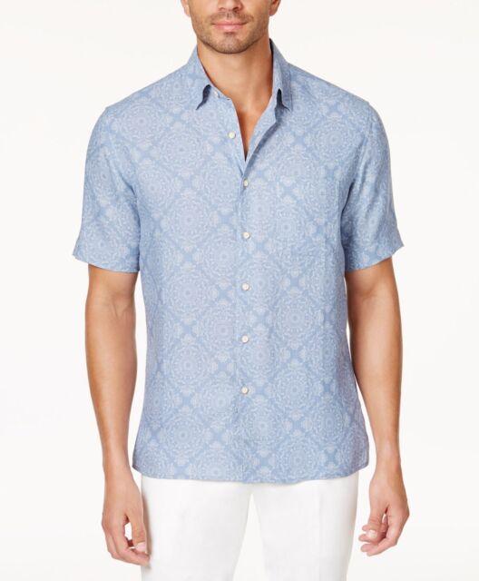 c77115227ac Tasso ELBA Short Sleeve Blue Silk Linen Blend Paisley Floral Shirt Mens L