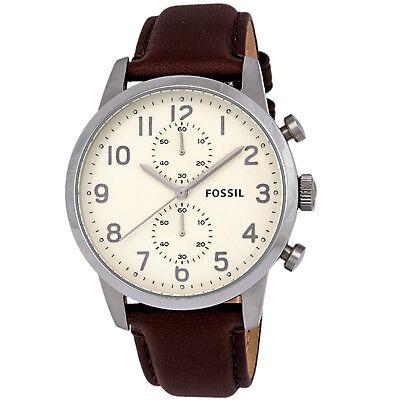 Fossil Townsman FS4872 Chronograph Brown Leather Cream Dial SS Quartz Mens Watch