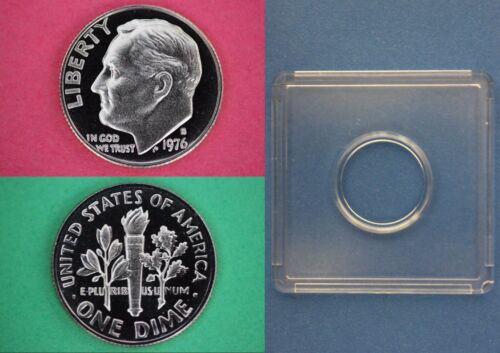 1976 S Clad Proof Roosevelt Dime With 2x2 Snap Nice Cameo Combined Shipping