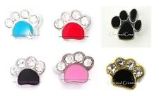 Paw Print Animal Dog Pet Floating Charms For Locket Necklace Pink Blue Black Red