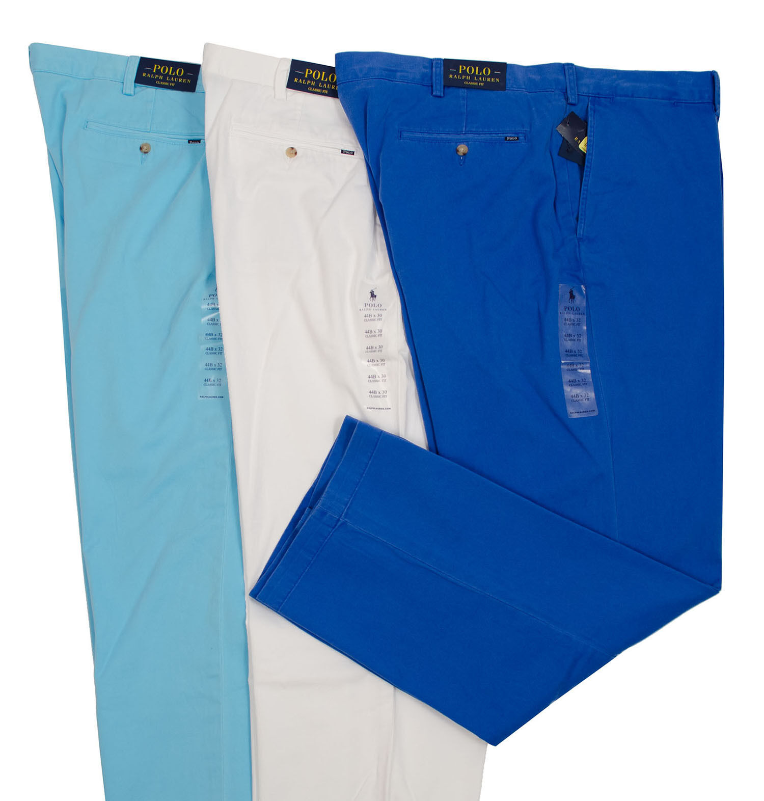 POLO RALPH LAUREN BIG TALL MEN CLASSIC FIT FLAT FRONT PANTS TURQUOISE WHITE blueE