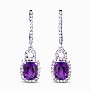 3.58ct 14K White gold Brazil Amethyst And Diamond Engagement Sparkly Earrings