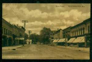WHITEWATER-WISCONSIN-OLD-POSTCARD-MAIN-STREET-SEPIA-MAILED-1912