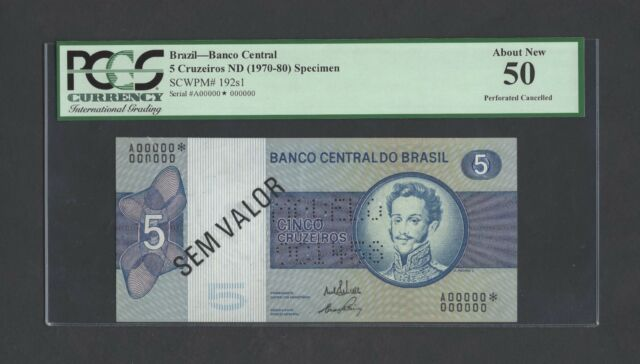 Brazil 5 Cruzeiros ND (1970-80) P192s1 Specimen About Uncirculated