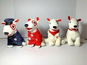 "Lot of 4 Target Bullseye Plush Dogs 7"""