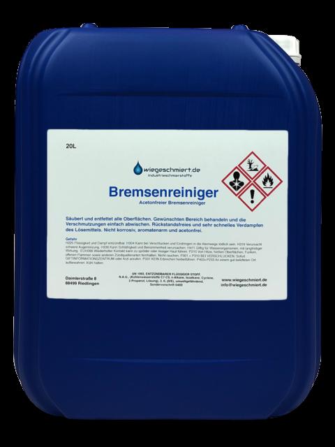 Bremsenreiniger Montagereiniger Entfetter ACETONFREI 20L Kanister 20 Liter NEU