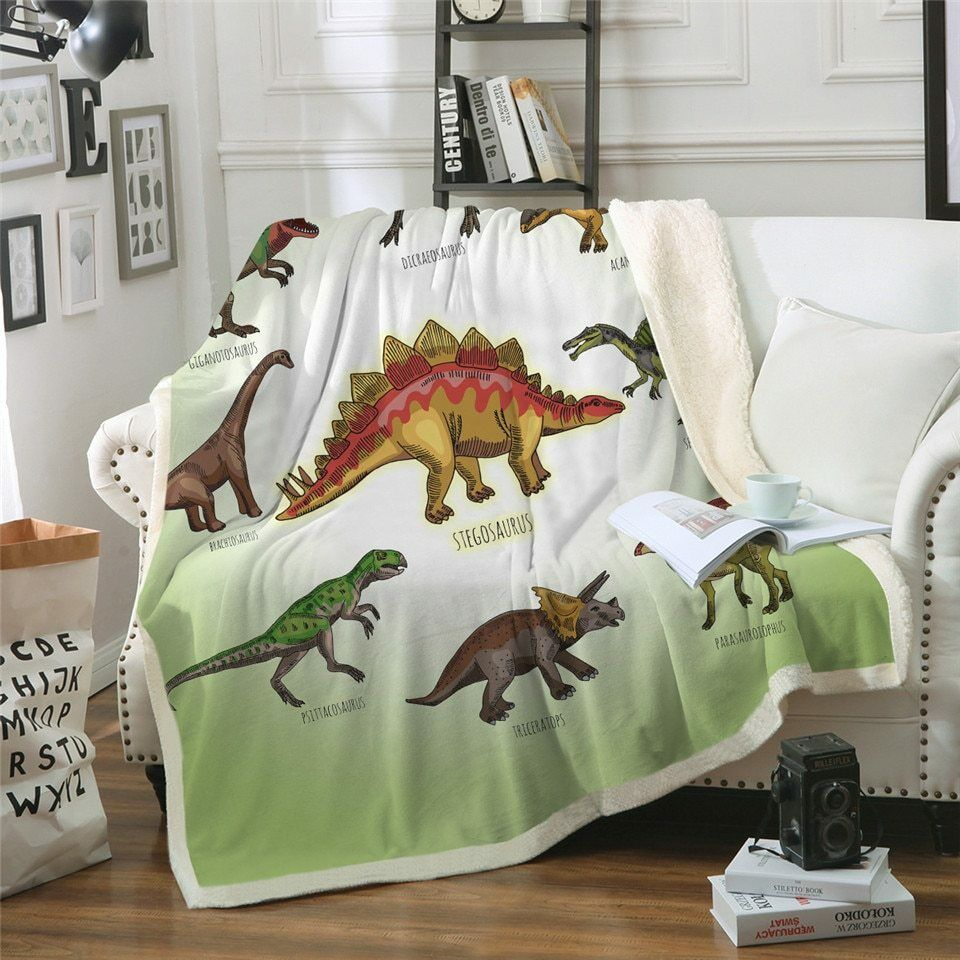 Dinosaur Kids Dinosaurs Sherpa Plush Play Throw Blanket Fleece Bed Sofa Couch