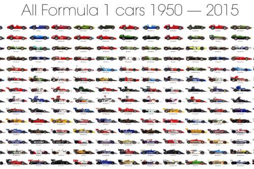 ALL FORMULA ONE F1 RACE CARS 1950-2016 POSTER PRINT 42x48 BIG 9 MIL PAPER