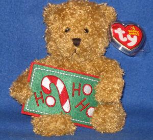 TY HO HO HO the BEAR BEANIE BABY - (GREETINGS) - MINT with MINT TAG