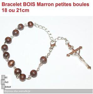 Bracelet-CHAPELET-CRISTIANO-ROSARY-en-BOIS-BRUN-perles-6mm-NEUF