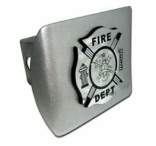 Firefighter Black and Chrome Brushed Chrome Trailer Hitch Cover Made in USA! NEW