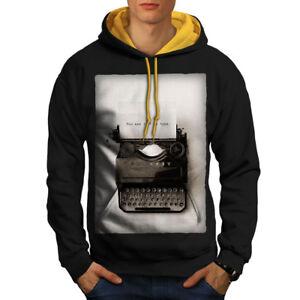 cappuccio Retro uomo Typewriter Vintage Felpa Black vintage cappuccio con New da oro TtqpUHn5w