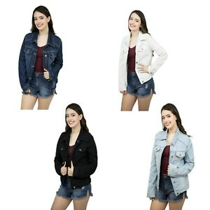 Women-039-s-Fashion-Basic-Button-Down-Denim-Jean-Jacket-Ladies-Stretch-Denim-Jacket