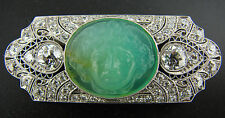 Carved JADE DIAMOND PLATINUM PIN BROOCH Art Deco1930s Amazing Carving Work