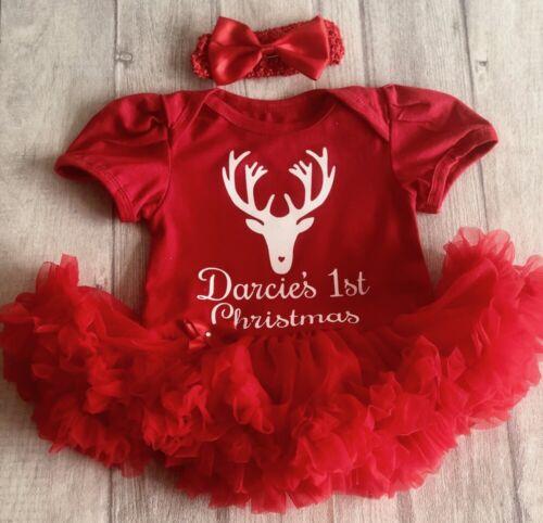 White Reindeer Design PERSONALISED 1ST CHRISTMAS TUTU ROMPER Newborn Baby Gift