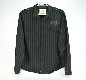 DKNY-Button-Down-Mens-Size-XXL-Long-Sleeve-Shirt-Striped-Black-100-Cotton
