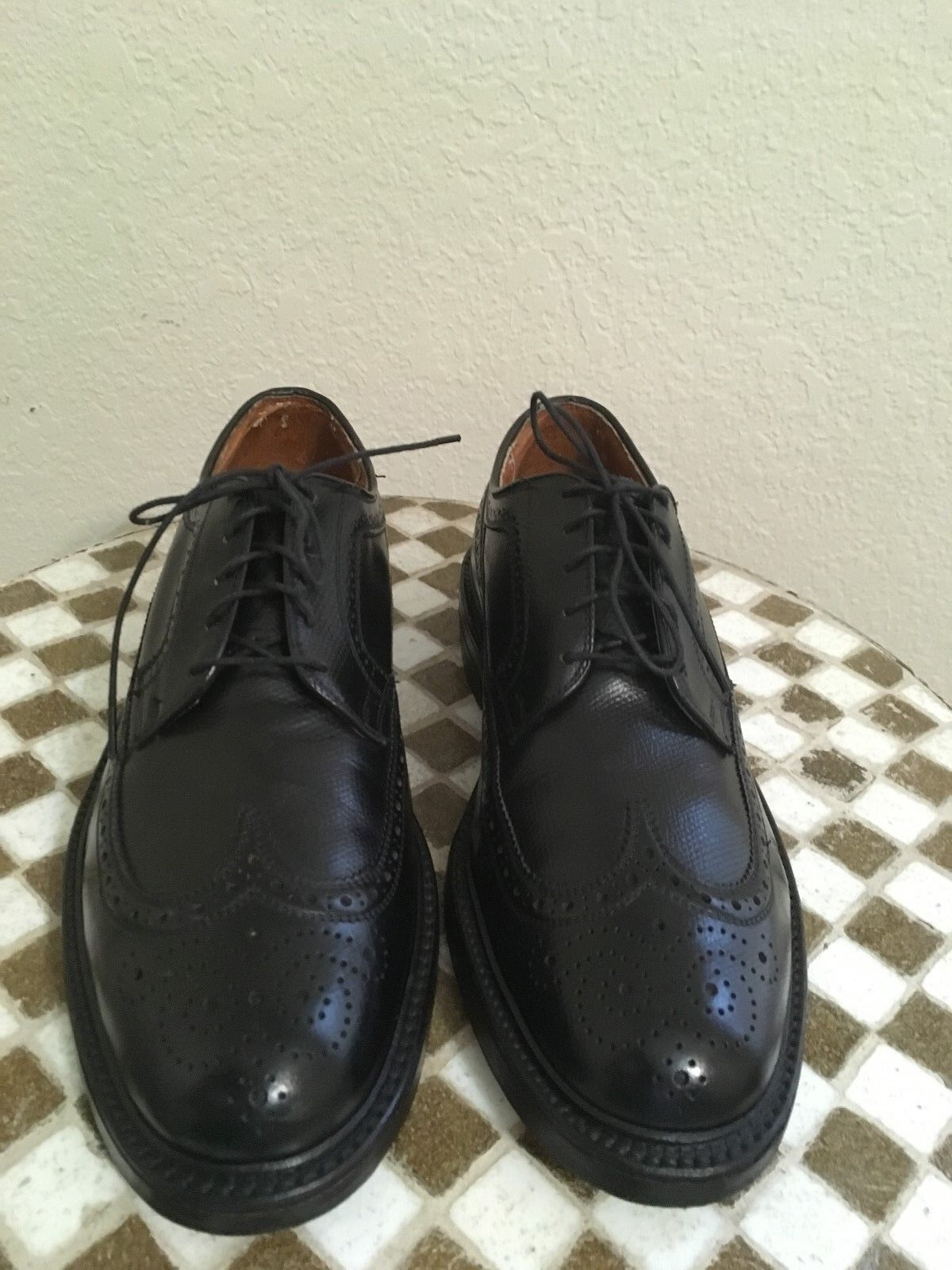 schwarz LEATHER MADE IN USA VINTAGE LACE UP WING TIP TIP TIP POWER schuhe 8.5 D 93e185
