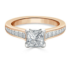 1.75 Ct Princess Solitaire Moissanite Wedding Ring 14K Solid Rose Gold Size 6