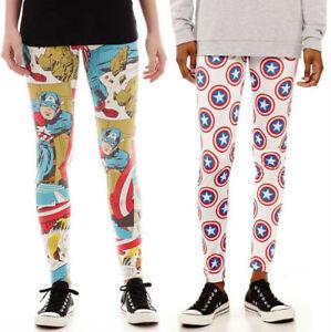 fe7dbe9044 Image is loading Captain-America-Marvel-Comic-Leggings-Yoga-Pants-Juniors-