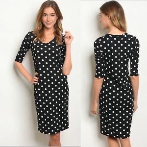 a003d921163 NWT Women's Large Black Polka Dot Print Midi Dress Fall Winter ...