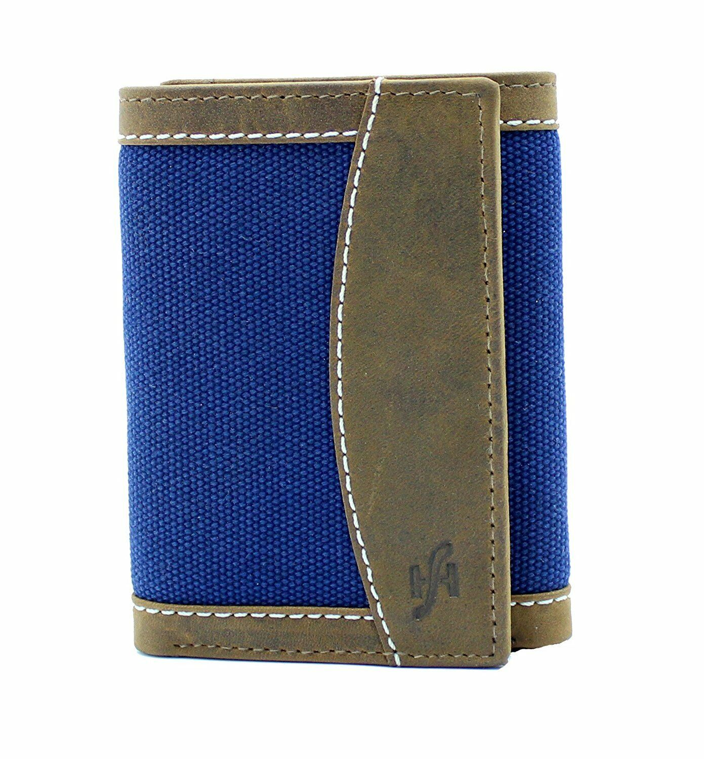 Mens Canvas With Real Distressed Leather Wallet Brown Blue