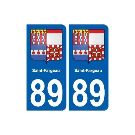 89 Saint-Fargeau blason autocollant plaque stickers ville arrondis
