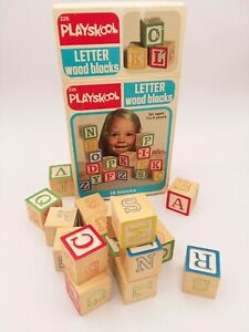 Vintage-1978-Playskool-Letter-Wood-Blocks-226-16-Building-Blocks-Complete