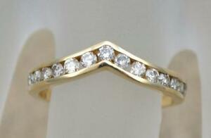 1-4-Ct-V-Channel-Set-Diamond-Stackable-Wedding-Chevron-Band-14k-Yellow-Gold-GP