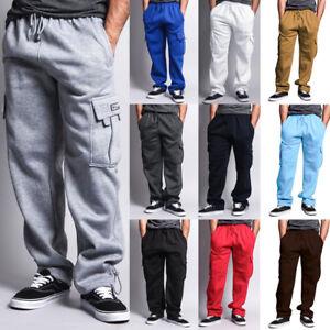 Mens-Fleece-Cargo-Pocket-Sweat-Pants-With-Drawstring
